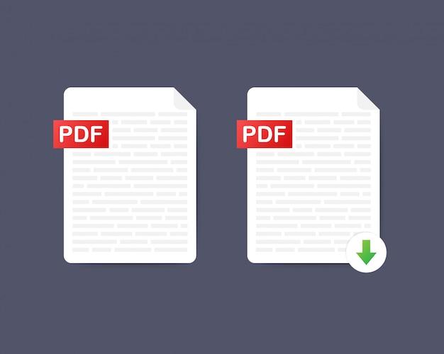 Pdf 다운로드 버튼. 문서 개념을 다운로드 중입니다. pdf 레이블 및 아래쪽 화살표 기호가있는 파일.