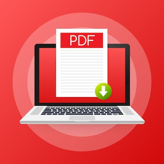 Download pdf button on laptop screen. downloading document concept. file with pdf label and down arrow sign