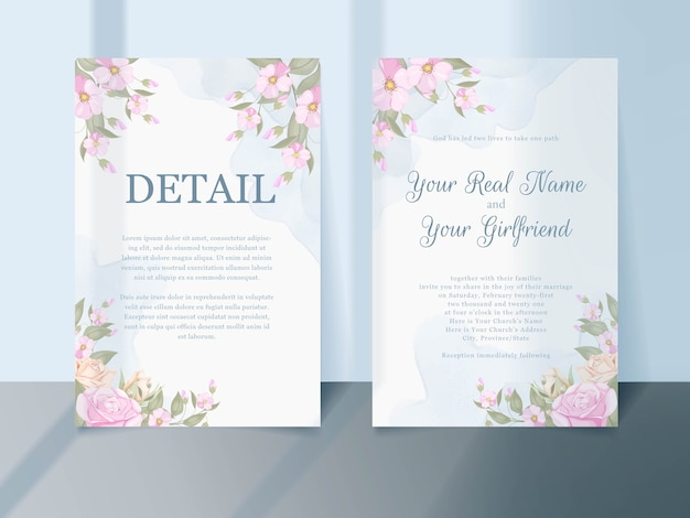 Download pink wedding invitation template design