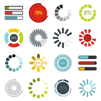 Download progress bar icons set in flat style