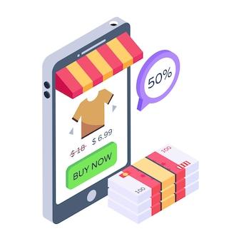 Скачать значок приложения со скидкой для покупок в изометрическом стиле