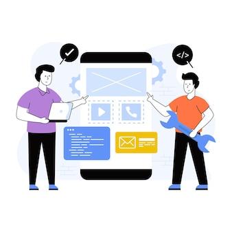 앱 개발에 대한 이 프리미엄 평면 일러스트레이션을 다운로드하십시오.