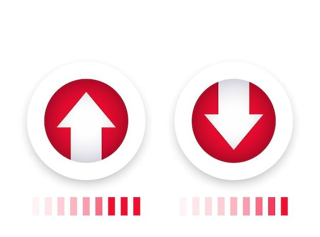 진행률 표시줄이 있는 다운로드, 업로드 아이콘