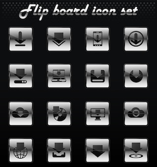 Download vector flip mechanical icons for user interface design