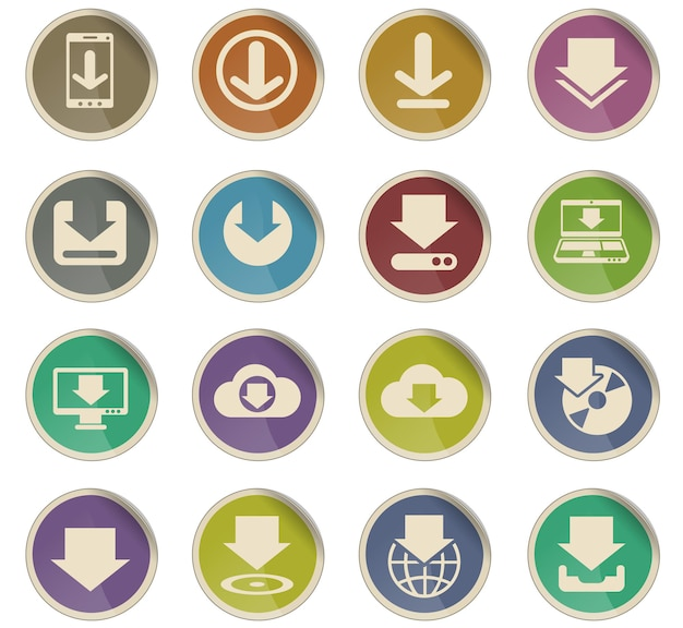 Download vector icons in the form of round paper labels