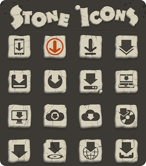 Download vector icons on stone blocks in the stone age style for web and user interface design