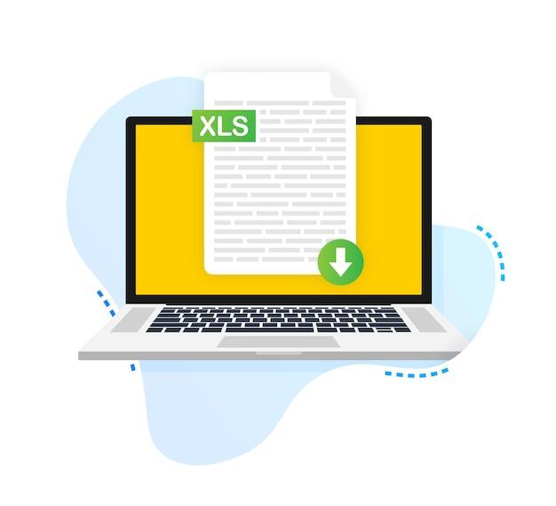 Download xls button on laptop screen downloading document concept