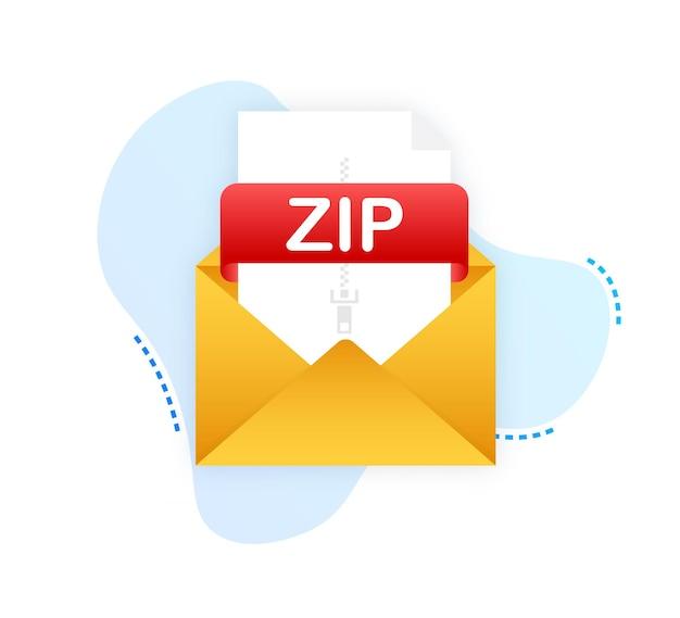 Zip 버튼 다운로드 zip 레이블 및 아래쪽 화살표 기호가 있는 문서 개념 파일 다운로드