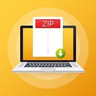 ノートパソコンの画面にzipボタンをダウンロードします。ドキュメントの概念をダウンロードします。 zipラベルと下矢印記号付きのファイル