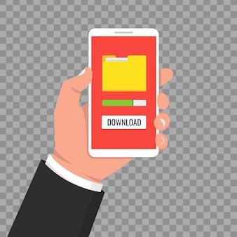 파일 다운로드, 정보 개념. 투명 한 배경에 스마트 폰 들고 손입니다.