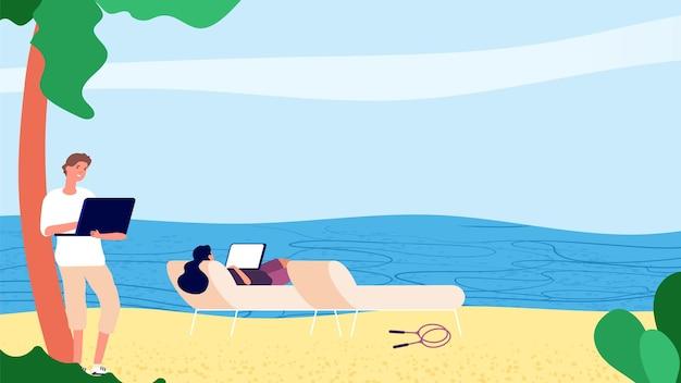 다운 시프 팅 사람들. 바다로 노트북을 사용하는 평면 사람들. 벡터 탈출 사무실 프리랜서 개념입니다. 남성 여성 캐릭터 비치 노트북. 휴식 자유 프리랜서, 여행자 그림