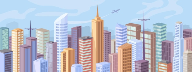 都市の建物の日中のファサードの外観フラット漫画デザインベクトル現代都市のパノラマでダウンタウン