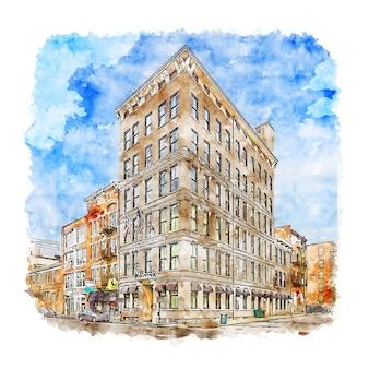 시내 신시내티 미국 수채화 스케치 손으로 그린 그림
