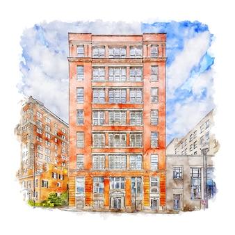 Downtown cincinnati united states watercolor sketch hand drawn illustration