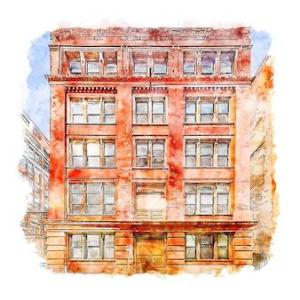 Центр города цинциннати сша акварельный эскиз рисованной иллюстрации