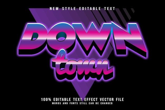 Downtown editable text effect emboss retro style