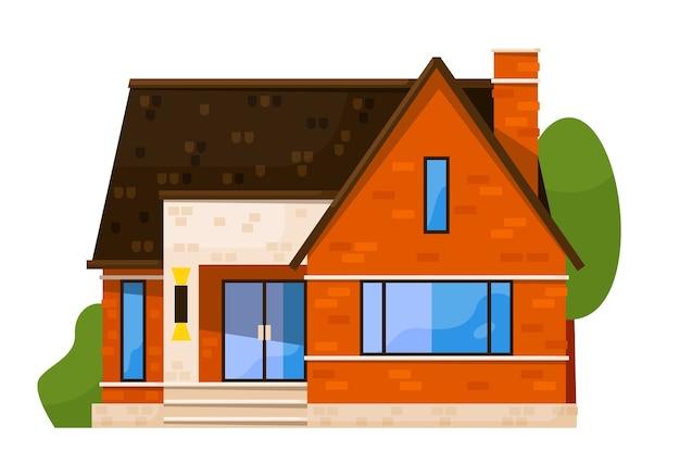 白い背景で隔離のダウンタウンの家の正面図