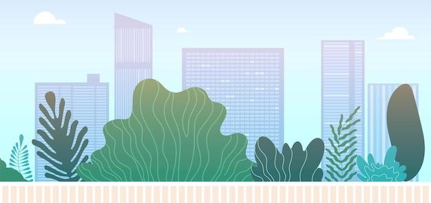 Городской пейзаж парка. городская зеленая зона или пешеходная улица. небоскребы и зеленые насаждения, городское озеленение векторные иллюстрации. центр города и ландшафтное здание, город и зеленый парк