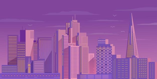 Ночь в центре сан-франциско. небоскребы американского города.