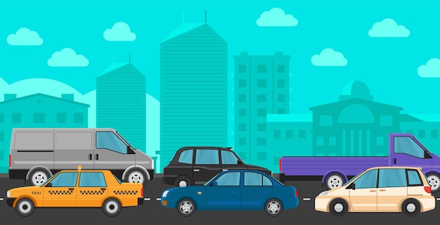 Downtown traffic jam. different cars on road flat illustration