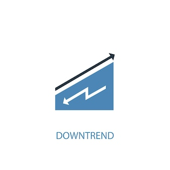 Downtrend concept 2 colored icon. simple blue element illustration. downtrend concept symbol design. can be used for web and mobile ui/ux