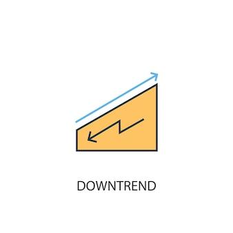 하락세 개념 2 컬러 라인 아이콘입니다. 간단한 노란색과 파란색 요소 그림입니다. 하락세 개념 개요 기호 디자인
