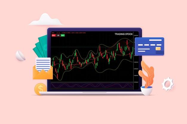 Нисходящий тренд рынка 3d плоская изометрическая концепция для флаера целевой страницы иллюстрации веб-сайта баннера