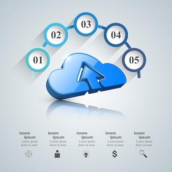 ダウロード、雲、矢印アイコン。ビジネスインフォグラフィックス。