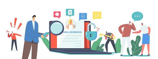 Doxing concept. персонаж-хакер собирает конфиденциальные данные целевых лиц и делает их общедоступными. результаты взлома информации в интернете и ее использования или распространения. мультфильм люди векторные иллюстрации