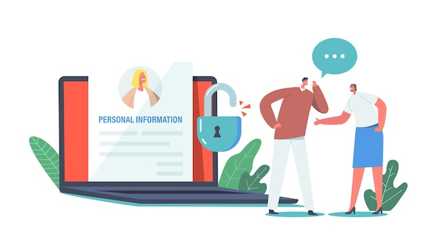 Doxing, internet harassment, sensitive data publication. characters whisper at huge laptop discussing personal information of famous person published in internet. cartoon people vector illustration