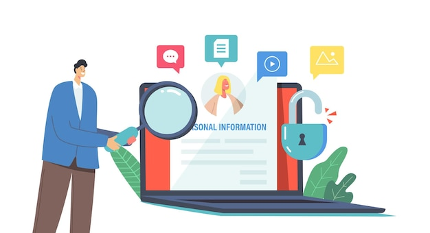Doxing, online information hacking, exploit or dissemination results concept. tiny male character with magnifier reading individuals sensitive data at huge laptop. cartoon people vector illustration