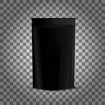 黒いホイルの食べ物doypack。ジッパー付き包装スタンドアップポーチバッグ。