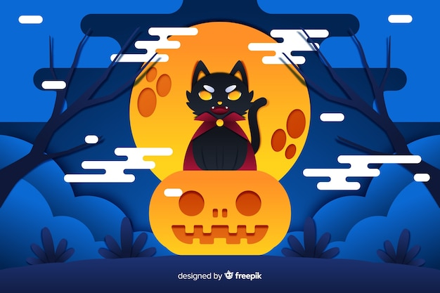 Dracula black cat halloween background