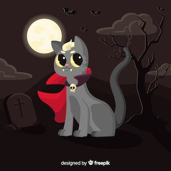 Dracula cat with cape in the wind