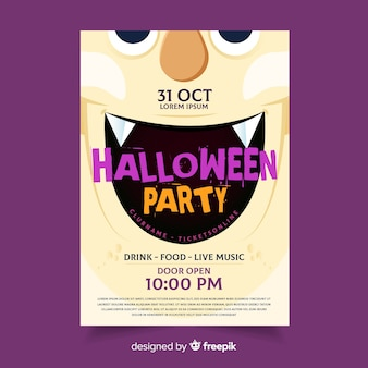 Dracula fangs halloween party flyer template