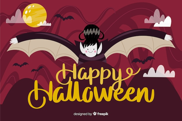 Dracula halloween background with flat design