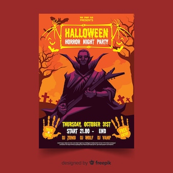 Dracula halloween flyer template with flat design