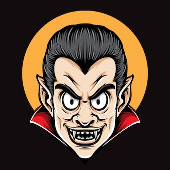 Dracula head cartoon vector character