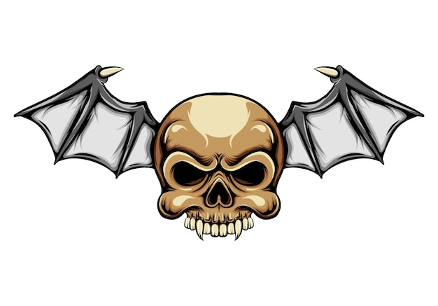 Dracula head skull with with the small bat's wings for the motorcycle logo inspiration
