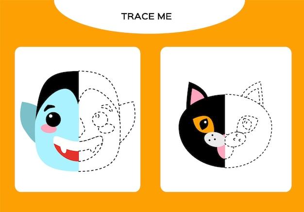 드라큘라 뱀파이어와 검은 고양이 워크시트. 어린이를 위한 교육 게임. 해피 할로윈 게임. 슈퍼 모터 스킬. 트레이싱 워크시트.