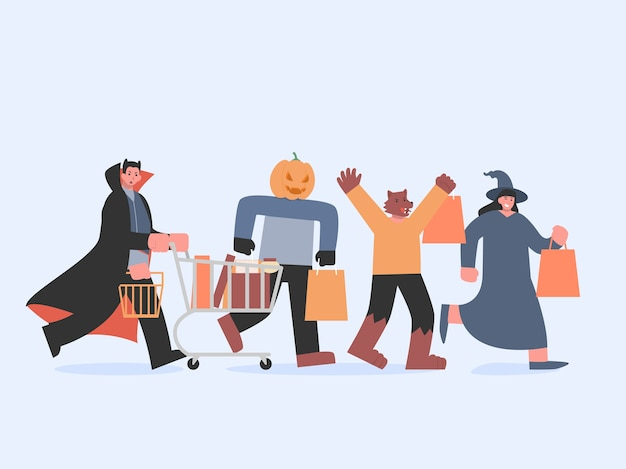Dracula with shopping cart and witch and werewolf and pumpkin monster with bag running to shopping in halloween tradition. illustration about devil group in the fantasy department store concept.