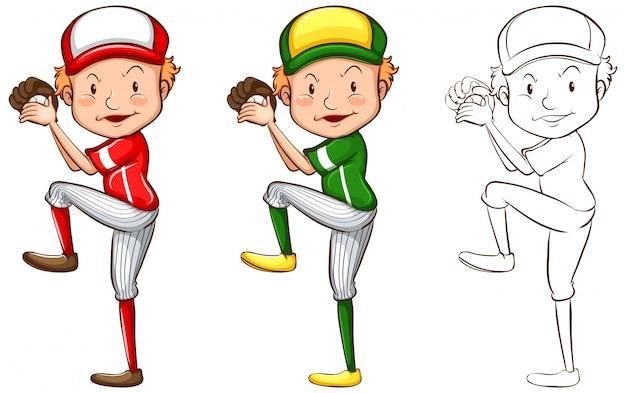 Drafting character for baseball player illustration