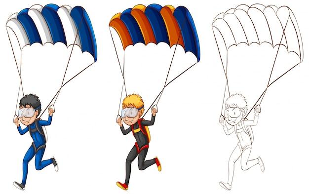 Disegno di carattere per l'uomo che fa l'illustrazione del paracadute