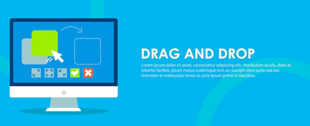 Drag and drop banner. computer with the program and site configuration settings functions.