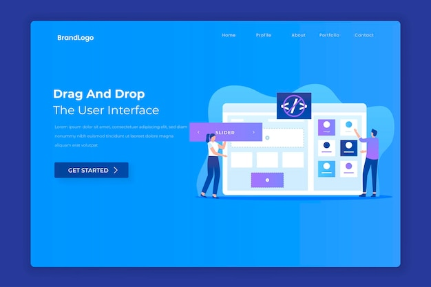 Drag and drop website builder landing page concept