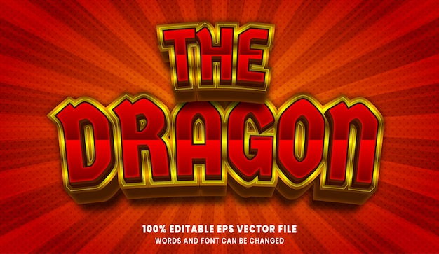 The dragon 3d editable text style effect
