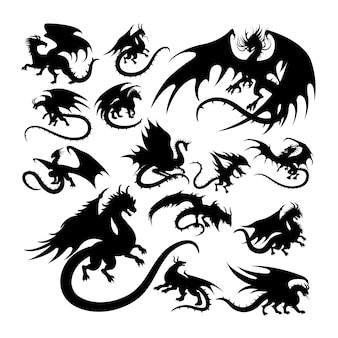Dragon ancient creature mythology silhouettes.
