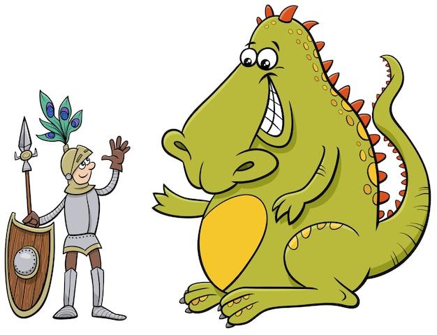 友好的な話の漫画イラストを持っているドラゴンと騎士