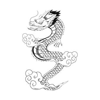 Дракон черно-белая иллюстрация для thsirt