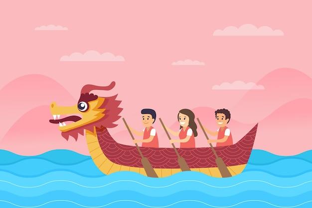 Dragon boat background in flat design
